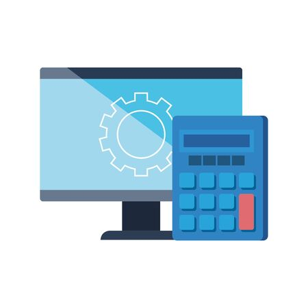 Gear calculator and computer design, construction work repair machine part technology industry and technical theme Vector illustration