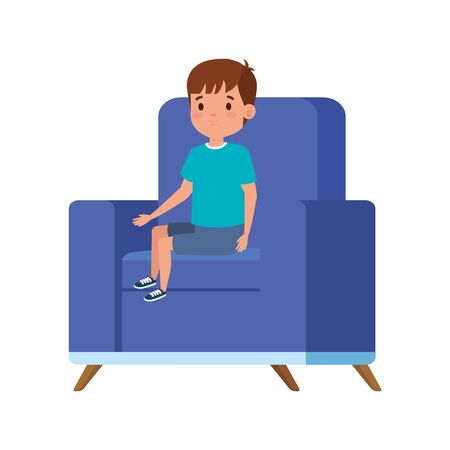 cute little boy sitting in sofa vector illustration design  イラスト・ベクター素材