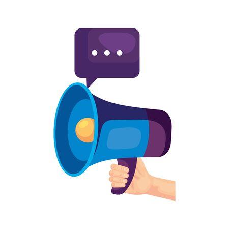 Megaphone and bubble design, Amplifer speaker bullhorn announce speech message communication and sound theme Vector illustration