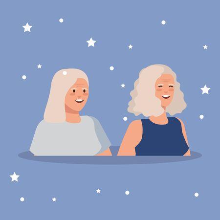 old women elegant avatar character vector illustration design