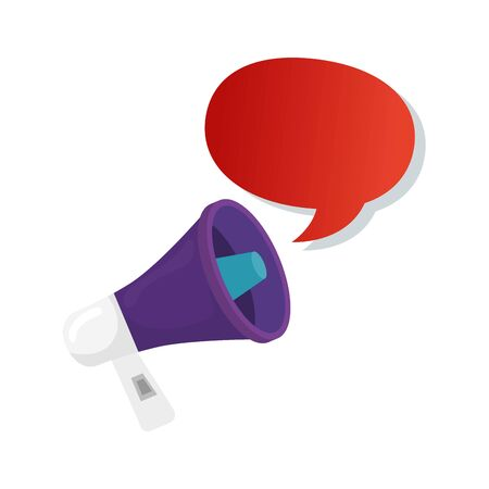 speech bubble with megaphone isolated icon vector illustration design