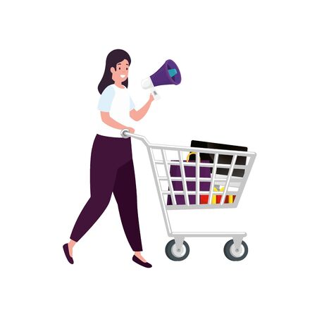 beautiful woman with cart shopping and megaphone vector illustration design