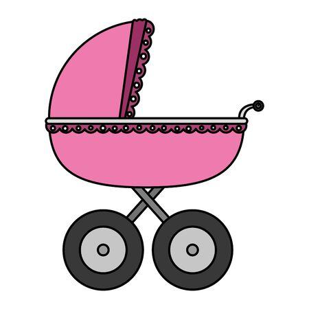 Carrito de bebé aislado icono diseño ilustración vectorial