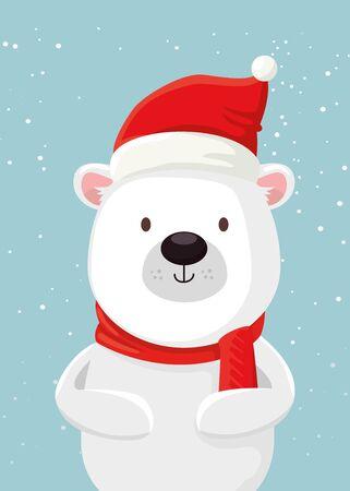 merry christmas cute bear character vector illustration design