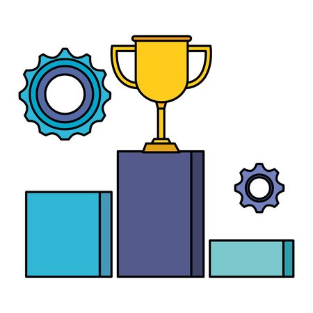trophy cup award with podium and gears vector illustration design