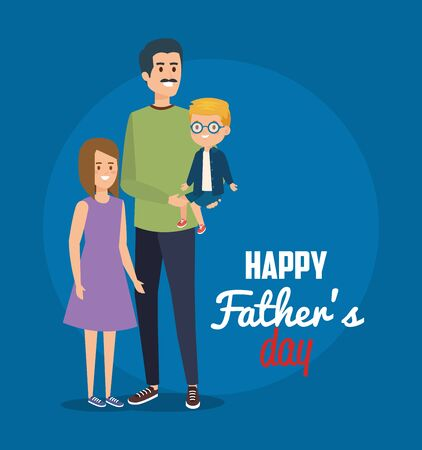 happy man with his son and daugther to holiday celebration vector illustration  イラスト・ベクター素材