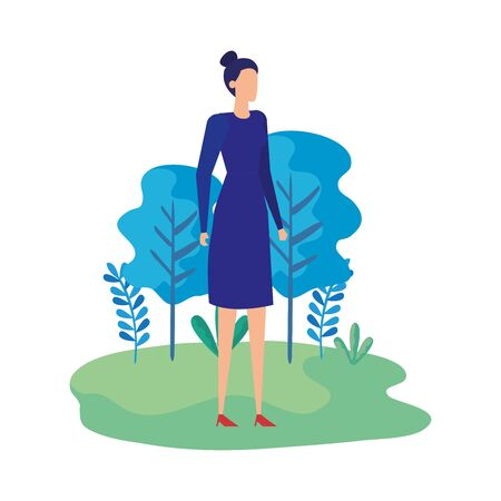 elegant businesswoman worker in the field vector illustration design 版權商用圖片 - 136588660