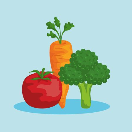 fresh tomato with carrot and broccoli nutrition to healthy food vector illustration Çizim