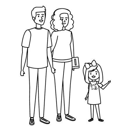 happy student girl with couple teachers vector illustration design Vecteurs