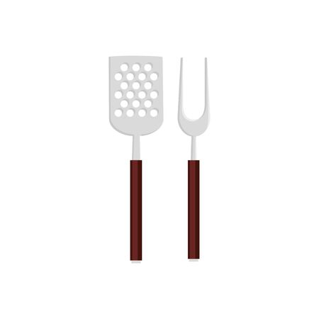 spatula with fork barbecue cutlery tools isolated icon vector illustration design Ilustração