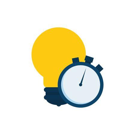 Light bulb and chronometer design, Energy power technology electricity illumination and innovation theme Vector illustration