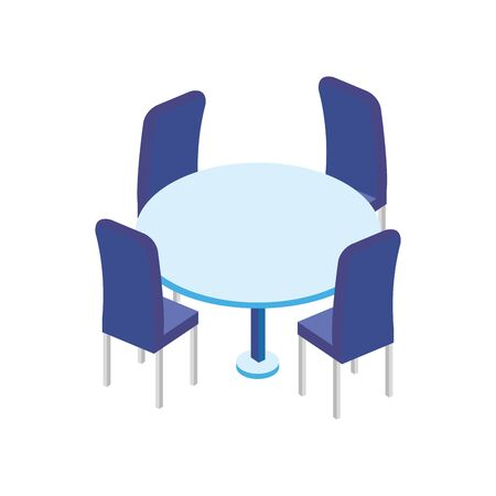 table round furniture with chairs isolated icon vector illustration design