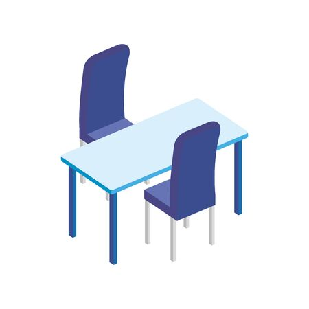 table rectangle with chairs isolated icon vector illustration design