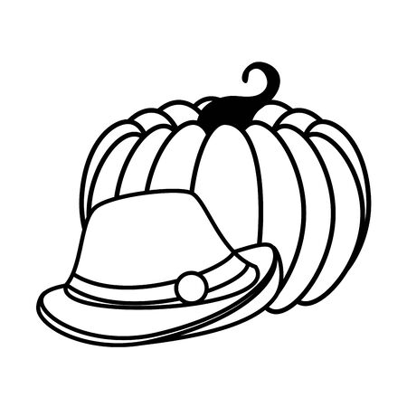 Oktoberfest hat and pumpkin design, Germany festival celebration europe landmark munich culture and party theme Vector illustration