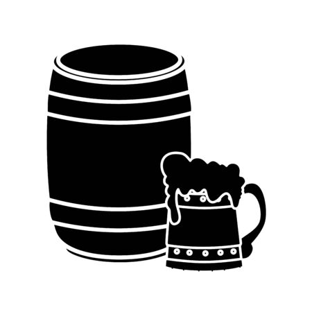 Beer barrel and mug design, Pub alcohol bar brewery drink ale and lager theme Vector illustration