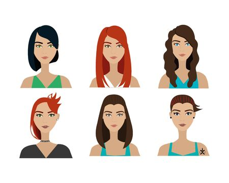 group of women style punk vector illustration design