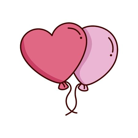 valentines day balloons helium decoration vector illustration design