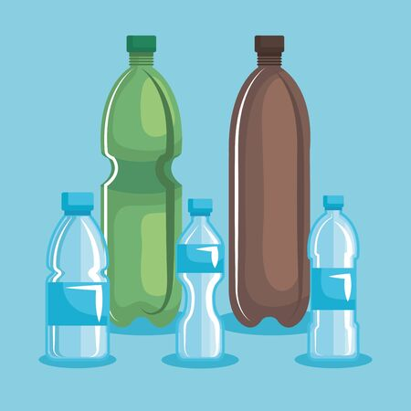 toxic plastic bottles pollution environment vector illustration