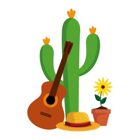 cactu with straw hat and guitar vector illustration design