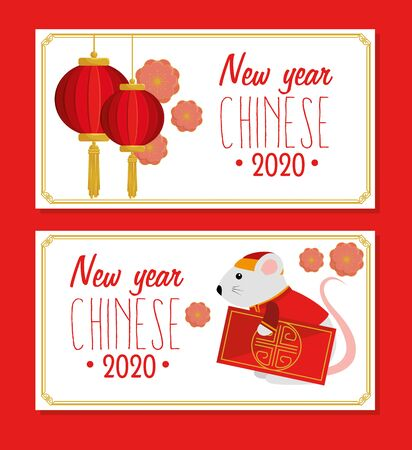 set poster of happy new year chinese 2020 with decoration vector illustration design