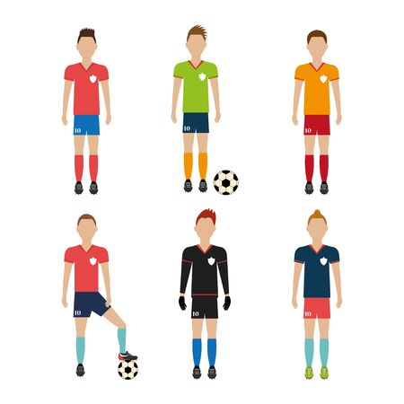 group of player soccer with ball vector illustration design Vecteurs