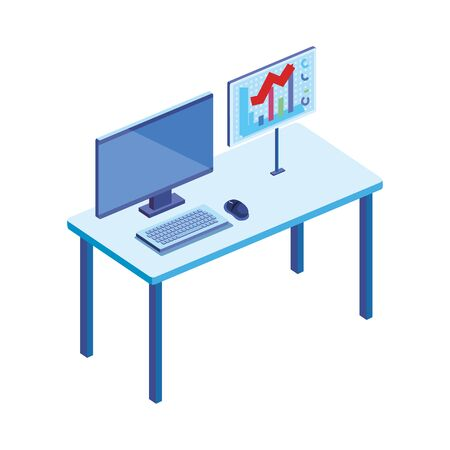 desktop computer in the workplace isolated icon vector illustration design