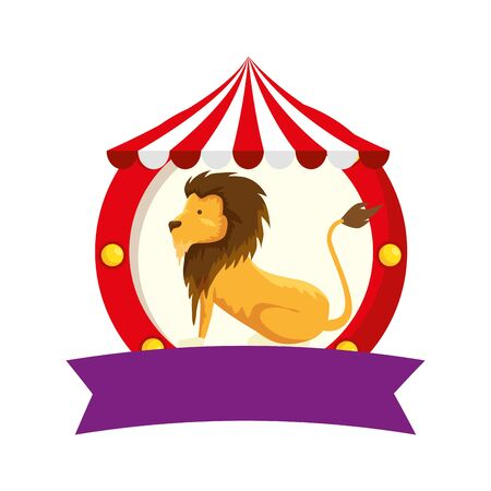 circus lion domesticated in tent vector illustration design Stock fotó - 136664849