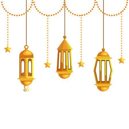 ramadan kareem lamps and stars hanging decoration vector illustration design