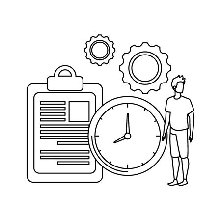 young man with checklist character vector illustration design