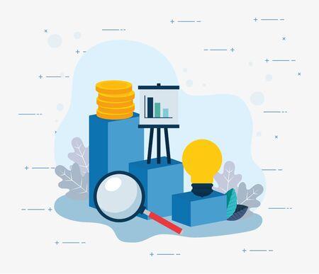 Conception de jeu d'icônes d'affaires, occupation de l'investissement d'entreprise financière de la main-d'œuvre de gestion et thème de la communication Illustration vectorielle Vecteurs