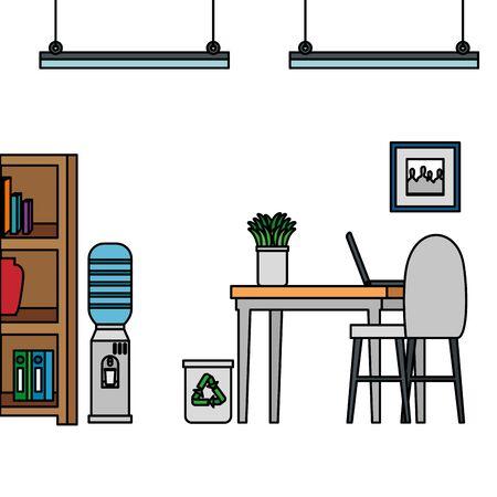 office work place scene with laptop vector illustration design Ilustração