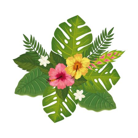 cute flowers with leafs isolated icon vector illustration design  イラスト・ベクター素材
