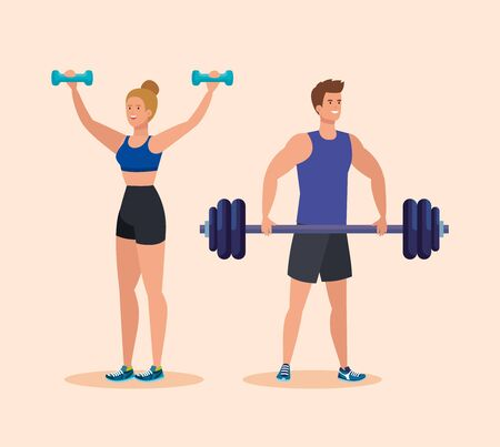 woman with dumbbells activity and man with weight over pink background, vector illustration