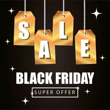 poster black friday poster with super offer lettering vector illustration design