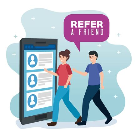poster of refer a friend with couple and smartphone vector illustration design