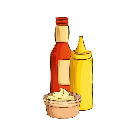set of delicious sauces isolated icon vector illustration design 向量圖像