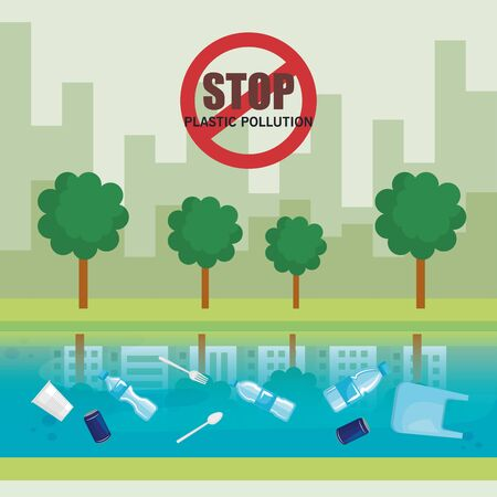plastics waste pollution in the river and city vector illustration