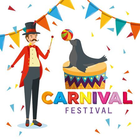 man magician and seal wild animal with ball and party banner vector illustration