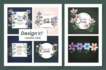 set six designs of cards with flowers decoration and leafs illustration design Ilustração