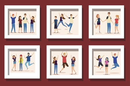 bundle of group teenager happy illustration design Иллюстрация