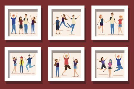 bundle of group teenager happy illustration design Illustration