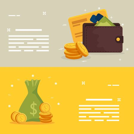 set with wallet and bag money illustration design Ilustración de vector