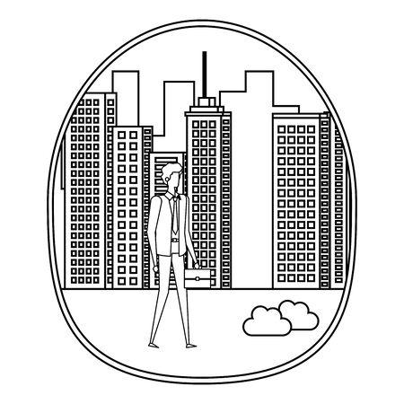 elegant young businessman on the city illustration design