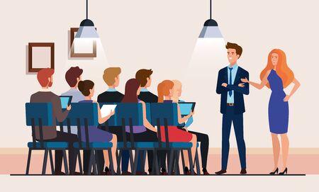 Les gens d'affaires réunion caractère avatar design illustration vectorielle Vecteurs