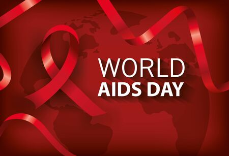 poster world aids day with ribbon illustration design