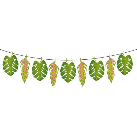 flowers heliconia with leafs hanging isolated icon vector illustration design