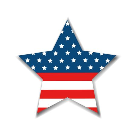 united states flag in star shape vector illustration design