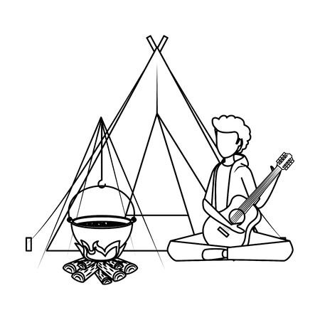 young man playing guitar with camping tent and woodfire vector illustration