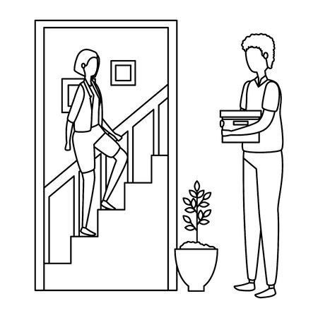 man with woman climbing the stairs in house place vector illustration design