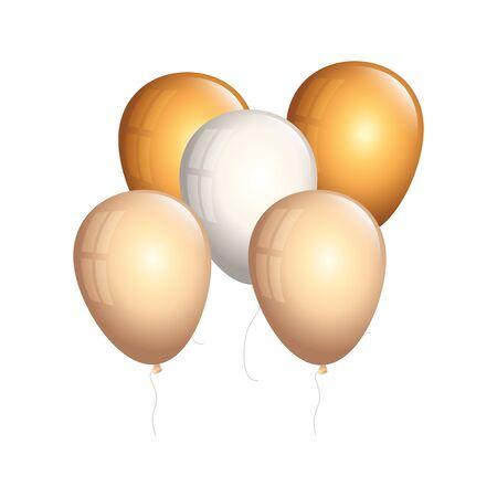 set of balloons helium golden and white vector illustration design